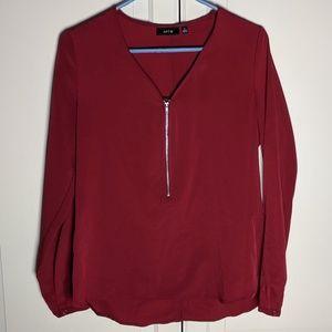 Apt. 9 Red Long Sleeve Zipper Dress Shirt